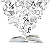 Open book on the table. Education and reading concept - open book with different symbol doodles Royalty Free Stock Image