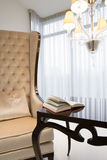 Open book on the table. In luxury room Stock Image