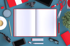Open book on table with office objects and  blank modern devices. Organized for company presentation or branding identity. Mockup  on clear background. Top Royalty Free Stock Photos