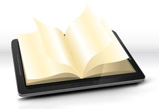 Open Book In Tablet PC Royalty Free Stock Photography