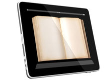 Open Book on Tablet PC Computer. Book and tablet computer 3D model isolated on white, digital library concept, Objects with Clipping Paths Royalty Free Stock Photos