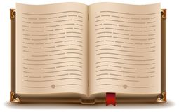 Open book with text and red bookmark. Illustration in vector format stock illustration