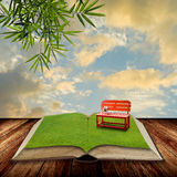 Open book to the park with sunset sky Stock Photography