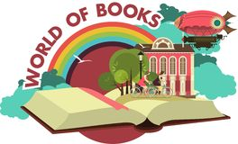 Open book trip to fabulous worlds emblem Royalty Free Stock Image