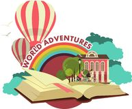 Open Book Trip To Fabulous Worlds Emblem Royalty Free Stock Photos