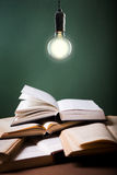 Open book  under the incandescent bulb Royalty Free Stock Image