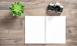 Open book vintage photo camera succulent Office desk flat lay stock images