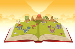 Open book with volcano and funny cartoon dinosaurs. Stock Photography