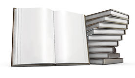 Open book. White background. Pile of books. Open book. White background. 3d render Royalty Free Stock Photo