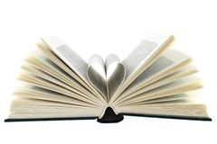 Open book white background stock photography