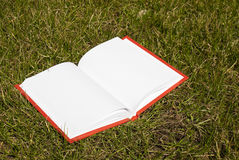 Open book with white pages. Laying at the grass Royalty Free Stock Images