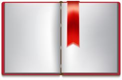 Open book with white pages, red cover and red bookmark Royalty Free Stock Photography