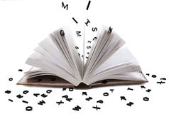 Open book whith black letters Stock Image