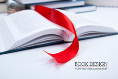 Open book whith red bookmark. Open book whith red ribbon bookmark Royalty Free Stock Photo