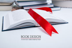 Open book whith red bookmark. Open book whith red ribbon bookmark Royalty Free Stock Image