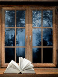 Open book on windowsill Stock Photos