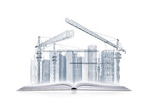 Open book and wire frame skyscrapers Royalty Free Stock Photo