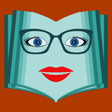 An open book with a woman face. Talking book, library. Stock Image