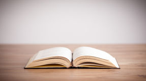 Open Book. On wood background with empty space stock images