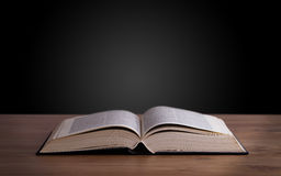 Open book on wooden deck Royalty Free Stock Photos