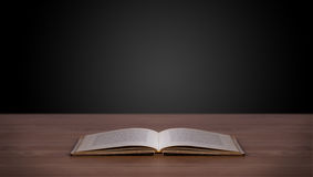 Open book on wooden deck Royalty Free Stock Photography