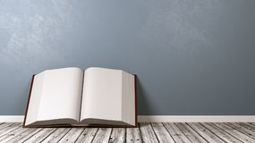 Open Book on Wooden Floor Against Wall. Open Book with Blank Pages on Wooden Floor Against Blue-Grey Wall with Copyspace 3D Illustration Stock Photography