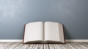 Open Book on Wooden Floor Against Wall. Open Book with Blank Pages on Wooden Floor Against Blue-Grey Wall with Copyspace 3D Illustration Royalty Free Stock Photography