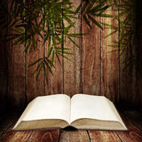 Open book on wooden table Royalty Free Stock Image