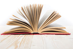 Open book on wooden table. Back to school. Copy space.  Stock Images