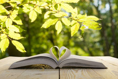 Open book on wooden table on natural blurred background. Heart book page. Back to school. Copy Space Stock Images