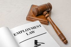 Open book with words EMPLOYMENT LAW royalty free stock photography
