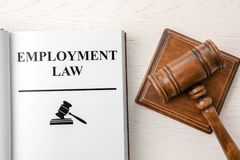 Open book with words EMPLOYMENT LAW royalty free stock image