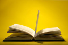 Open book on yellow Stock Photography