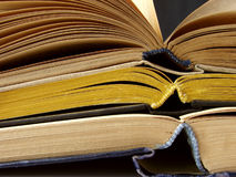Open books. Pile fragment education and knowledge concept Stock Photography