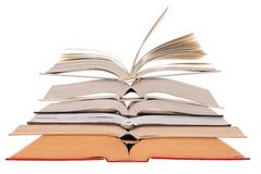 Open Books. Stack of open books isolated on white Royalty Free Stock Image