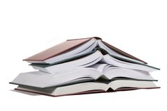 Open books. Four open books piled up Royalty Free Stock Images