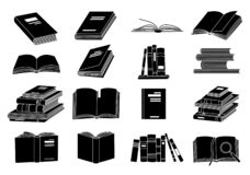 Open books black silhouettes. Book reading icons vector illustration isolated on white for library logo or education. Symbol royalty free illustration
