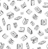 Open Books Drawing Seamless Pattern Background Stock Photos