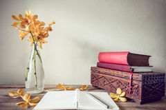 Open Books and flower, home decoration concept.  Stock Images