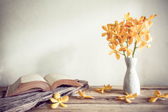 Open Books and flower, home decoration concept Royalty Free Stock Image