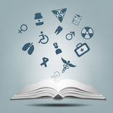 Open books and icons of medical. Illustration of Open books and icons of medical Royalty Free Stock Photo