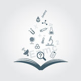 Open books and icons of science. Royalty Free Stock Images