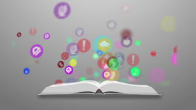 Open books and icons of science. The concept of modern education stock footage