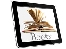 Open Books on iPad 3D concept Stock Photos
