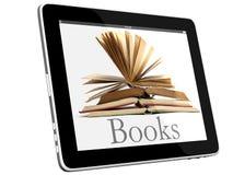 Open Books on iPad 3D concept stock photos