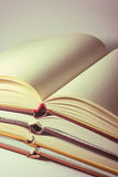 Open books. Stack of retro looking open books Stock Photography
