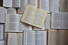 Free Open Books Top View. Library And Literature Concept. Education And Knowledge Background. Stock Photo - 114965740