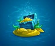 Open Boomstam Verborgen piraatborst met gouden schatten in oceaan Royalty-vrije Stock Afbeelding