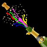 Open bottle with the bright streams of champagne and cork Stock Photography