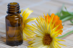 Open bottle and calendula flowers on bamboo plate Stock Photography